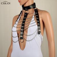 Wholesale steel harness - Chran Leather Harness Bondage Beach Chain Collar Goth Choker Shoulder Necklace Jewelry Accessories Erotic Lingerie Wear Crbj821