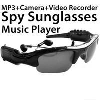 Wholesale Iphone Bluetooth Spy Camera - Spy Smart Sunglasses Wireless Bluetooth Eearphone Video Recorder DV MP3 Player Camera 3 in 1 TF 32G Handfree headset glasses Stereo Sports