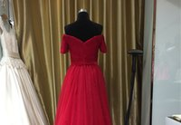 Wholesale Wedding Card Pictures - Evening Dresses Spring And Summer New Red Fashion Sexy Banquet Host A Word Shoulder Dresses Card Shoulde Style Wedding Dresses Female Long