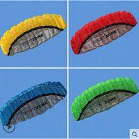 Wholesale Kites Free Shipping - Free Shipping kitesurfing kite 2.5m Dual Line 4 Colors Parafoil Parachute Sports Beach Kite Easy to Giant Fly Kite for Surfing