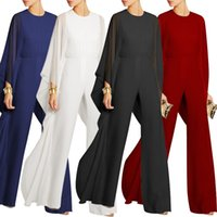 Wholesale Chiffon Trousers For Women - O-neck work wear woman jumpsuit chiffon full length female rompers solid wide leg trousers for woman