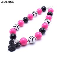 Wholesale Chunky Beads For Kids - MHS.SUN Zebra Style Kid Chunky Necklace Cartoon Pendant Toddlers Girls Bubblegum Bead Chunky Necklace Jewelry Gift For Children