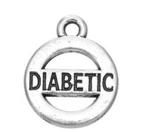 Wholesale diabetic charms - 50pcs lot Engrave Diabetic Statemant Charm Pendant Jewelry Antique Silver Plated For Gifts Or Anniversary