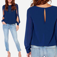 Wholesale Sexy Shirt Style - New Elegant Womens Sexy Split fork Long Sleeve Round Neck Chiffon blouses Fashion Loose Casual OL Style Shirt tops