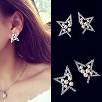 Wholesale Diamond Pearl Stud - Ladies pearl diamonds hollowed out five-pointed star earrings earrings wholesale free shipping