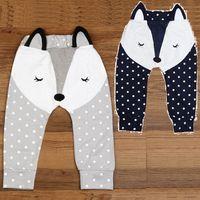 Wholesale Baby Boy Trouser Grey - Fox Baby Boy Pants Grey Navy Baby PP Pant Underpants Leg Warmers Baby Girls Tights 100% Cotton Newborn Trousers Soft Dot Panties