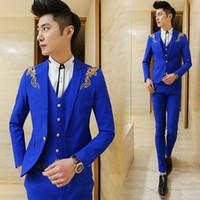 Wholesale Men Suit Design Embroidery - Wholesale- 2017 New Design Royal Blue Classic Men's Suit Prom Party Blazer 3 Piece Embroidery Slim Fit Groom Tuxedos Groomsman Suit Terno