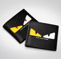 Wholesale Popular Korean Purses - New Arrival young man black fashion monster eye short wallet popular mens short purse with top workmenship and good quality materials