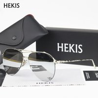 gradient color sunglasses NZ - Wholesale- HEKIS Brand Fashion Sun Glasses Gradient Color Coating Mirror Sunglasses Male Oculos Masculino For Men Women B2735
