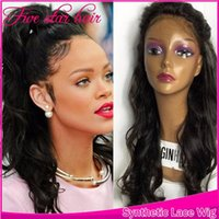Wholesale celebrity wig for sale - In stock ponytail celebrity boby wave Synthetic Lace Front Black Woman swiss Lace full Wig can be permed Baby Hair Synthetic wig