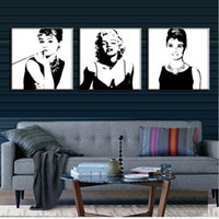 Wholesale Marilyn Monroe Canvas Prints - 3 Pcs Vintage Poster Portrait Oil Painting Canvas Wall Art Picture Marilyn Monroe And Audrey Hepburn Canvas Prints Pictures