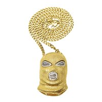 Wholesale Crystal Mask Necklace - New Arrive Hip Hop Crystal Anti-Terrorism headgear Men Necklaces Golden Pendants CSGO Mask Chain Bling Jewelry Drop Shipping NP229