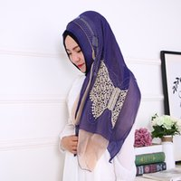 Wholesale Crochet Silk Scarf - Direct double butterfly embroidered turban scarf scarf drilling paragraph Hui female hijab wholesale trade