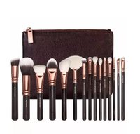 Wholesale Brown Cosmetic Bags - 15 pc ZOV Luxurious Makeup Brushes Set with Bag Powder Foundation Brush face eye cosmetics brushes kit