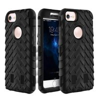 Wholesale Armor Tire - For iPhone 7 Plus Hybrid Dual Layer Armor Defender Tire Grain Case Cover for iPhone 6s 6 plus SE 5S Opp Bag