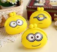 Wholesale Mini Minion Toys - yellow Silicone Coin Purse Despicable Me Minion Purse Or Emoji purse ear phone organize key cover children toy mini bag