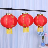 parti dekorasyonları çince fenerleri toptan satış-Bahar Festivali Fenerler Teras Süs Makaleleri Yaratıcı Çin Geleneksel Kırmızı Yuvarlak Asılı Fener Düğün Parti Dekorasyon 9ht C R