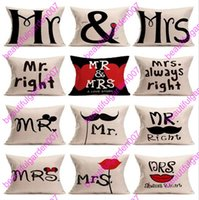 Housse d'oreiller en lin Cartoon Couple Mr Mrs Mouse Mr Right Throw Housse d'oreiller Home Textile Cushion Case Cover Pillowslip 15 design