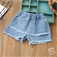 Wholesale Baby Girl Denim Jeans Short - Girls Denim Tassel Short Pants Baby Girls Wash Blue Fashion Jeans 2017 Babies Summer Casual Trouser Children's clothing