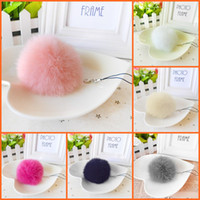 Wholesale Round Gift Bags - Fashion Faux Rabbit Fur Ball Pom Pom Keychain For Women Pompon Bag Charm Key Ring Trinket Phone Key Holder Wedding Jewelry Gift Souvenirs