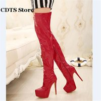 Wholesale Boots 15cm - Wholesale-CDTS Plus:35-44 Autumn 15cm thin heels martin Over-The-Knee-high boots platform women shoes Crossdresser Patent Leather pumps