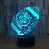 Barato Caixa Usb Diy-Ohio Rugby 3D LED Lamp Night Light 7 luzes RGB DC 5V USB alimentado AA bateria Dropshipping Retail Box