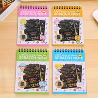 Unisex Big Kids as pic 14*10cm Color DIY Scratchbook Scratch Note Book Drawing Children Gift Creative Imagination Development Toy Stationery Christmas Gift KKA3028