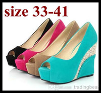 Wholesale Pink Peep Toes Wedges - candy color wedding shoes peep toe platform wedge heels hot pink blue comfortable heels plus size women shoes size 40 41 to small size 33