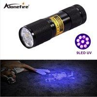 uv el feneri toptan satış-AloneFire 9 LED UV Işık 395-400nm LED UV El Feneri uv kaçak dedektörü