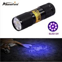 ingrosso luci led uv-AloneFire 9 LED UV Light 395-400nm LED UV Torcia UV rilevatore di perdite