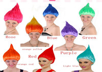Wholesale Fast Shipping Costumes - 10pcs lot Fast Shipping Trolls Wig for Kids Adults Costume Cosplay Party Supplies Party Cosplay Wig 12 colors in stock