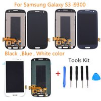 Wholesale Galaxy S3 Lcd Kit - For Samsung Galaxy S3 i9300 i9305 i747 i535 LCD with Touch Screen Digitizer + Frame Assembly Replacement Blue White and Free Repair tool kit