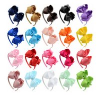 Wholesale Wholesale Baby Hairclips - Girls big bows hair band head hoop baby girl children hair accessories baby hair hoop with big bows kids hairsticks hairclips T4479