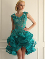 Wholesale Pink Sheer Girl Lady - 2017 Turquoise Lady Vestidos Evening Dresses Ruffles Organza Short With Beaded Appliques Sheer Back Girls Prom Gowns Fast Shipping