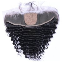 Wholesale side parting brazilian hair closure - Cheap 13*4 Deep Wave Silk Base Lace Frontal Human Hair Silk Lace Closure Brazilian Peruvian Indian Malaysian Virgin Hair Natural Black