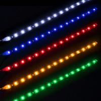 drl su geçirmez şerit açtı toptan satış-Toptan Araba Oto Dekoratif Esnek LED Şerit Su Geçirmez 12 V 30 cm 15SMD Araba LED Gündüz Çalışan Işık Araba LED Şerit DRL Işık
