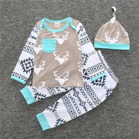 Wholesale Boys Dress Shirt 12 - 2017 Newborn Baby Girl Boy Clothing Sets Deer Animals long-sleeved shirts Pants Casual Hat 3 pieces. Set spring Dresses