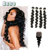 Wholesale Hot Companies - 2017 New ANNO Hair Company Grade 8a Peruvian Loose Wave Bundles With Closure Virgin 4 Bundle Deals With Hot Sale