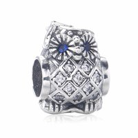 Wholesale Pandora Owl - 2017 New Arrival 925 Sterling Silver Owl Charms Beads Fits Pandora Bracelet Owl Silver Charm With Swiss Blue Crystal And Zircon