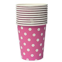 Wholesale Disposable Cups NHBR Polka Dot Paper Paper Cups Case Disposable Tableware Wedding Birthday Decorations Pink