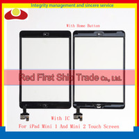 Wholesale Ipad Mini Digitizer Wholesale - High Quality For iPad Mini A1432 A1454 A1455 Mini 2 A1489 A1490 A1491 Touch Screen Digitizer Sensor With IC Connector Home Button Ahesive