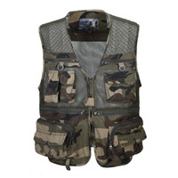 Wholesale Casual Male Camouflage Vest - Wholesale- Mesh Photography Male Vest Casual Cotton Loose Plus Size Camouflage Men Vest With Many Pockets