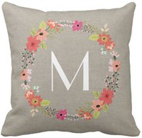 """Wholesale Rustic Wreaths - Throw Pillow Case Rustic Floral Wreath Monogram Square Sofa Cushions Cover, """"16inch 18inch 20inch"""", Pack of X"""