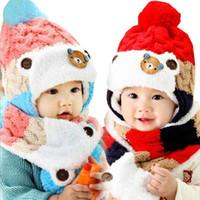 Wholesale Cheap Winter Wool Scarves - Beautiful 2017 Cheap Stock Boys Girls Wool Winter Warm Baby Kids Cloak Coif Hood Scarf Caps Chinldren Hats Free Shipping
