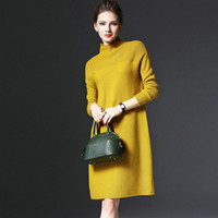 Wholesale Knee Length Sweaters - Plus Size Women Sweater Dresses Long Sleeve Knee Length Sweater Dress Three Colors Jersey Bottom Loose and Comfortable Ladies Dresses