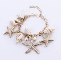 Wholesale Wholesale Sea Shell Pearl Strand - Novelty Hot Fashion Unisex High Quality Ocean Style Multi Starfish Sea Star Conch Shell Simulated-Pearl Chain Beach Bracelet Bangle