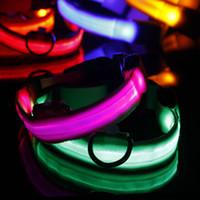 Wholesale dog collar bright light resale online - 2017 Adjuatable LED Dog Cat Pet Collar Night Safety Bright Flashing Necklace