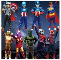 Wholesale Halloween Costume Captain America - Wholesale Halloween Boys Muscle Super Hero Captain America Costume SpiderMan Batman Hulk Avengers Costumes Cosplay for Kids Boy Girl