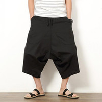Wholesale Japanese Linen Fashion - Wholesale- Summer Men's Japanese Samurai Boho Summer Harem Shorts Hakama Linen Cotton Pants 5 Colors Loose Fit Short Pants Big Size