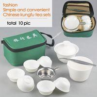 Wholesale Chinese Porcelain Mug - [mcgretea]10pcs Sets Chinese Travel Kung Fu Tea Set Ceramic Portable Teacup Porcelain Service Gaiwan Tea Cups Mug of Tea Ceremony Teapot